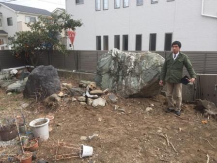 埼玉県 - 庭石・自然石・大岩・巨石の処分解体撤去の作業前