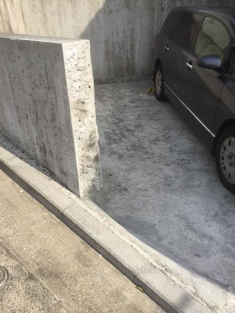 コンクリート塀の斫り解体撤去処分とモルタルでの左官補修工事完成写真