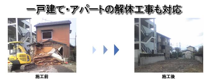 解体工事の木造・一戸建ての解体工事の施工前と施工後