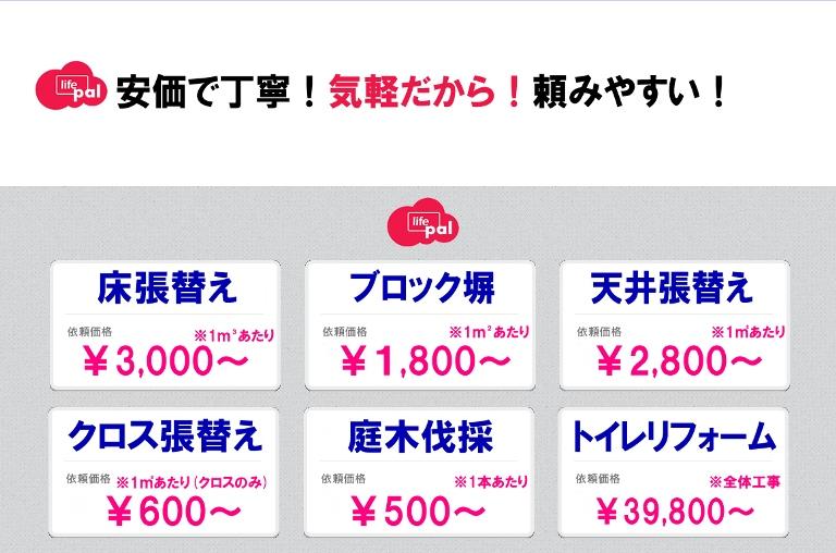 リフォーム - サービス価格のメニュー表
