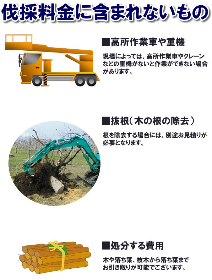 伐採料金に含まれないもの説明画像