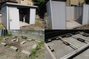物置の解体・撤去・処分の一連の作業風景をとった写真画像